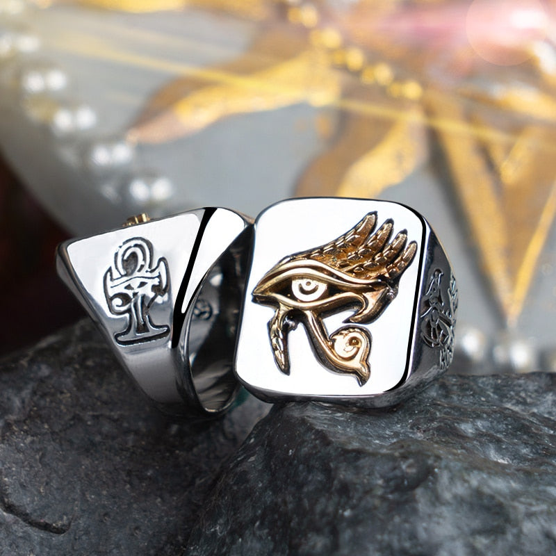 Eye of Horus rings  for man and women Copper with Stainless steel Index Ring fashion jewelry  hippop street culture mygrillz