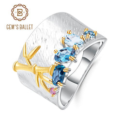GEM'S BALLET Natural Creative Blue Topaz Gemstone Ring 925 Sterling Silver Handmade Bamboo Finger Rings for Women Fine Jewelry