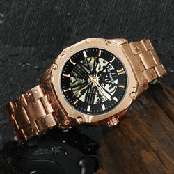 WINNER Official Vintage Automatic Watch Men Skeleton Mechanical Mens Watches Top Brand Luxury Rose Golden Classic Dress Clock