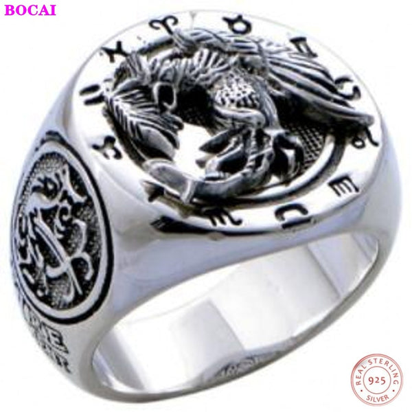 100% real S925 pure silver ringr four god beast rosefinch  domineering ring for man Bless the good luck ring Man's silver ring