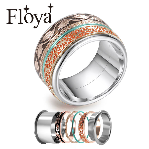Cremo Boho Rings For Women Stainless Steel Vintage Spinner Stackable Ring Rose Gold Interchangeable Wedding Band Ringen Set