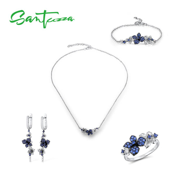 SANTUZZA Silver Jewelry Set for Women Pure 925 Sterling Silver Blue Butterfly Earrings Ring Bracelet Necklace Set Fine Jewelry