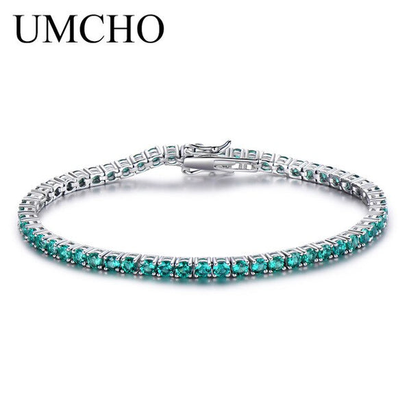 UMCHO 8.1ct Luxury Emerald Bracelets for Women 925 Sterling Silver Bracelet Birthstone Romantic Wedding Green Gemstone Jewelry