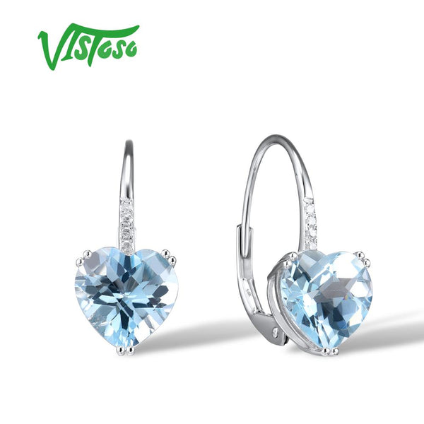 VISTOSO Gold Earrings For Women 14K 585 White Gold Sparkling Sparkling Luxury Diamond Blue Topaz Wedding Engagement Fine Jewelry