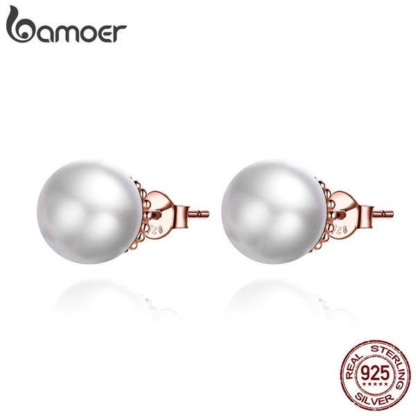 BAMOER HOT SALE 925 Sterling Silver White Pearl Stud Earrings for Women Ear Pin 925 Anti Allergic Female Jewelry SCE609