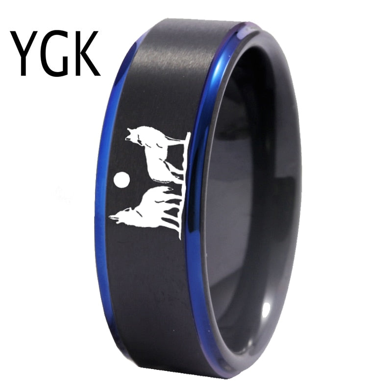 YGK Howling wolf Design Tungsten Ring Men's Classic Wedding Engagement Anniversary Lover's Ring Gift Ring Free Custom Engraving