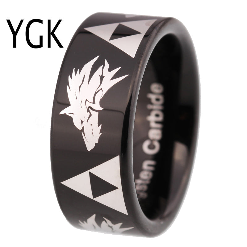 Classic Men's Wedding Engagement Ring Women Anniversary Gift Ring Legend of Zelda Triforce Wolf Ring Black Tungsten Wolf RING