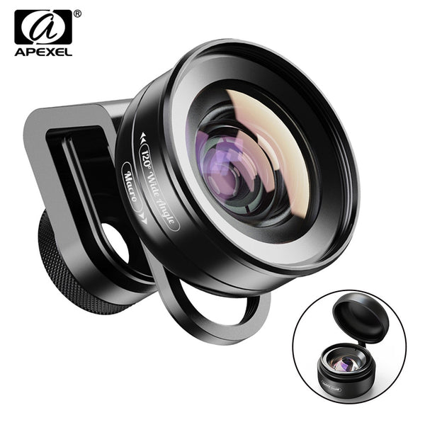 APEXEL 2in1 HD Camera Phone Lens Kit 120 degree 4K Wide angle lens + 10X Macro lens for iPhone 11 Samsung xiaomi all smartphone