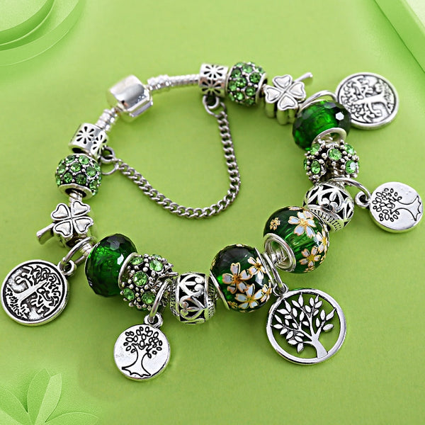 HOT Silver Tree of Life Fashion Bead Bracelet Green Leaf Floral Crystal Charms Bracelet & Bangle Pulsera Jewelry