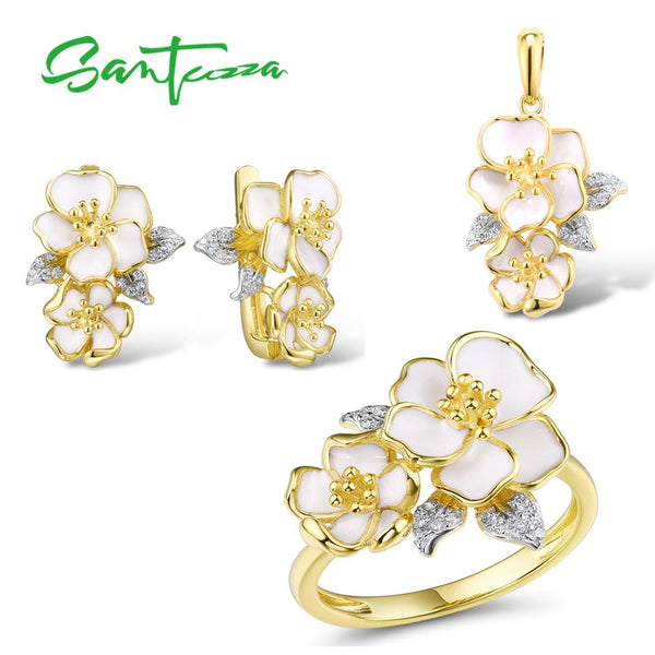 SANTUZZA  Jewelry Set for Women 925 Sterling Silver White Orchid Flowers Pendant Earrings Ring Set Fine Jewelry Handmade Enamel