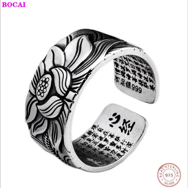 S999 pure silver lotus heart Thai silver ring retro men fashion lotus jewelry wide version adjustable size ring