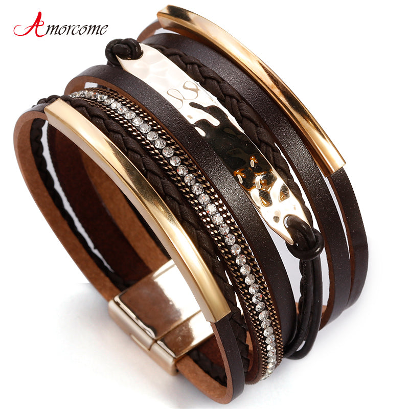 Amorcome Metal Bar Charm Leather Bracelets For Women Trendy Boho Braided Rope Wide Multilayer Wrap Bracelet Female Jewelry