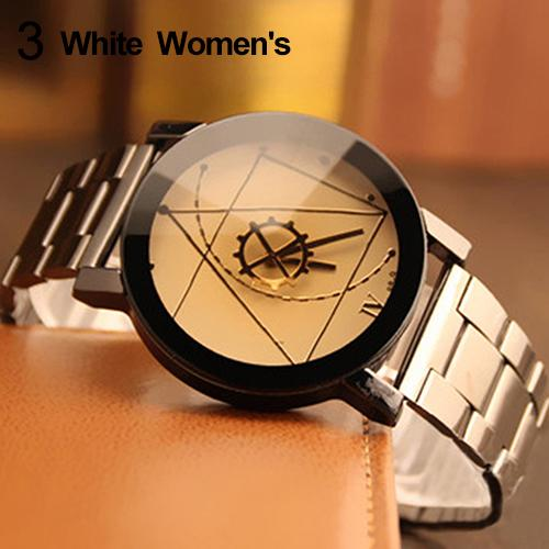 Fashion Men Women Couple Watch Lover Compass Hands Stainless Steel Watch Band Analog Quartz Couple Wrist Watch paired Watch