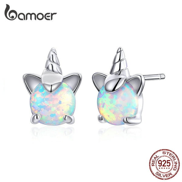 bamoer Genuine 925 Sterling Silver White Opal Licorne Animal Stud Earrings for Women Hypoallergenic  Earings for Kids SCE737