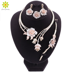 Nigeria Classic Jewelry Sets Elegant Bride Wedding Flower Shape Necklace Earrings Bracelet Ring Set for Dubai Women
