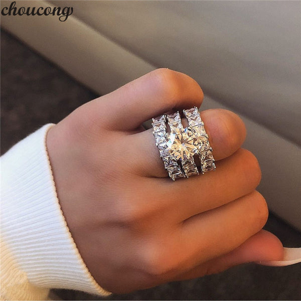 choucong 3-in-1 Statement Ring sets 925 Sterling Silver Princess cut AAAAA cz Engagement Wedding Band Rings For Women Jewelry