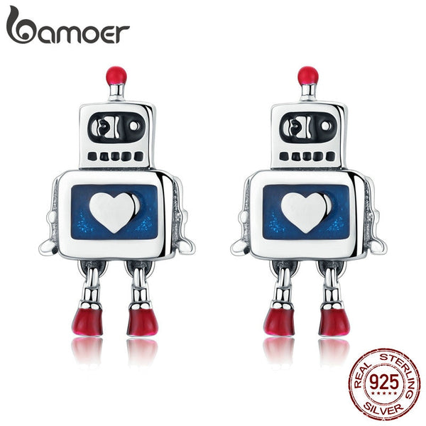 BAMOER Hot Sale Genuine 925 Sterling Silver Childhood Robot Heart Stud Earrings for Women Fashion Sterling Silver Jewelry SCE477