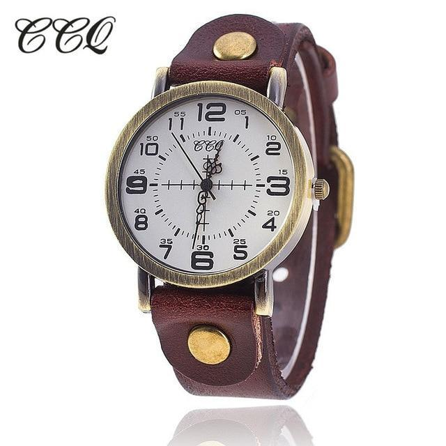 CCQ Brand Vintage Cow Leather Watch Women Wristwatches Casual  Quartz Ladies Watch Gift Female Clock relojes para mujer