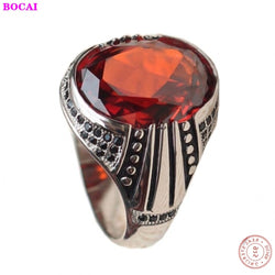 New fashion red oval natural garnet men's ring Inlaid zircon 100% real S925 pure silver  ring for Man