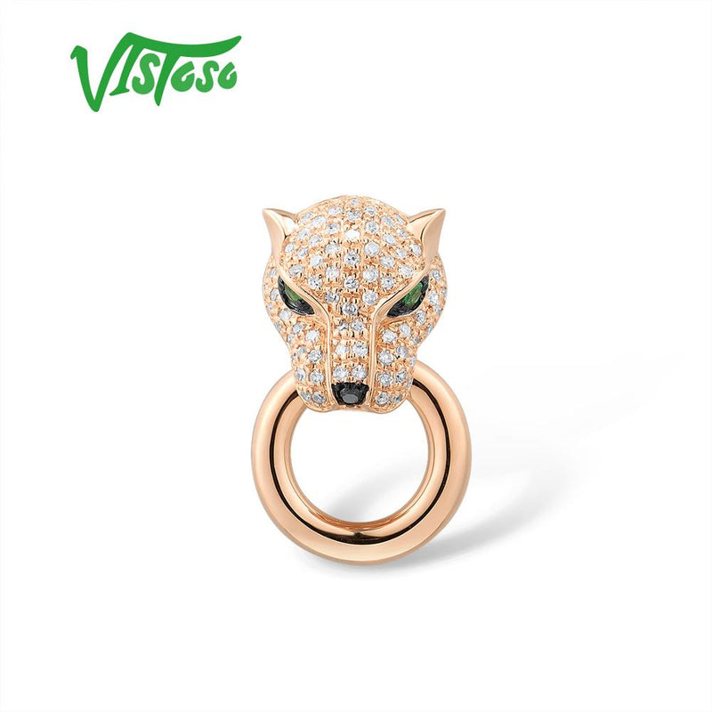 VISTOSO Gold Pendant For Women Genuine 14K 585 Rose Gold Leopard Pendant Emerald Sparkling Diamond Engagement Fine Jewelry