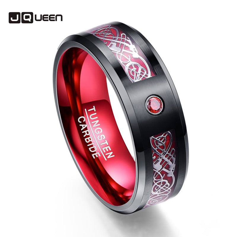 Scrub Red Zircon Men Rings Pure Tungsten Carbide Wedding Bands Anillos Para Hombres Ring With Silver Dragon Pattern