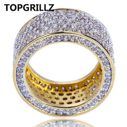 TOPGRILLZ New Fashion Gold Color Plated Micro Pave Cubic Zircon Round Ring Full Iced Out Bling Hip Hop Rock Jewelry For Male