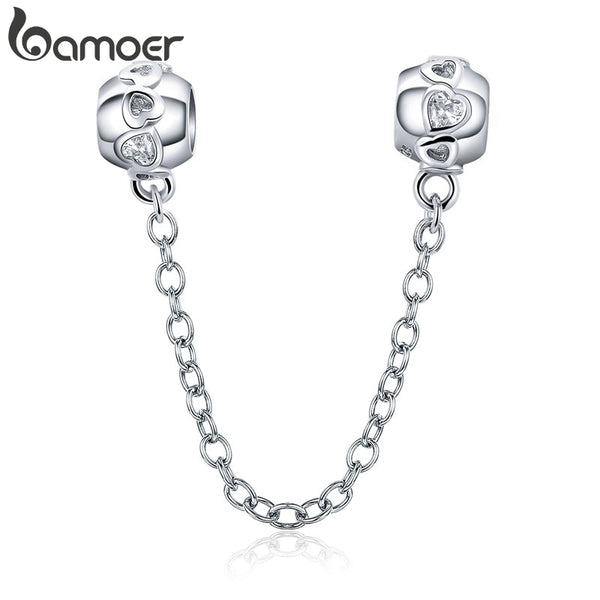 BAMOER Genuine 100% 925 Sterling Silver Romantic Heart Safety Chain Charm fit Women Charm Bracelets DIY Jewelry Making SCC736