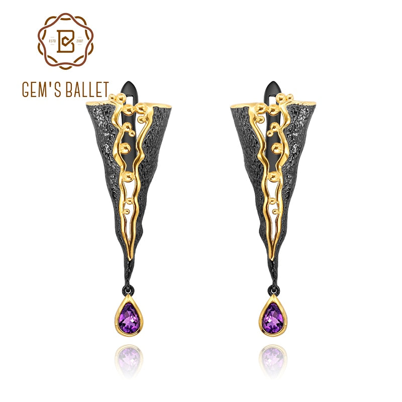GEM'S BALLET 925 Sterling Silver Handmade Golden Bead Honey Raindrop Triangle Natural Amethyst woman's statement Earrings Jewelr