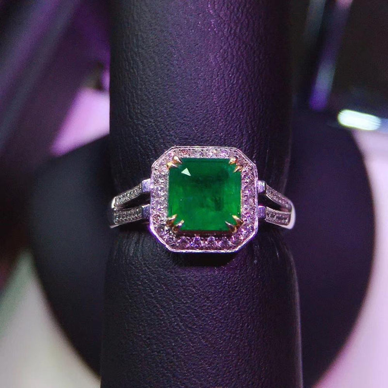 Real 1.492ct 7.2*7.2mm Natural Emerald Gemstones  Natural Diamonds Engagement Wedding Ring Real 14K White Gold for Women