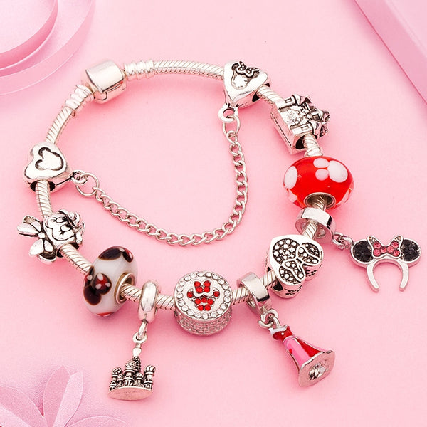 Cute Red Enamel Princess Dress Minnie Bracelet Silver Castle Bead Bracelet Diy Murano Crystal Charm Bracelet Pulseras for Girl