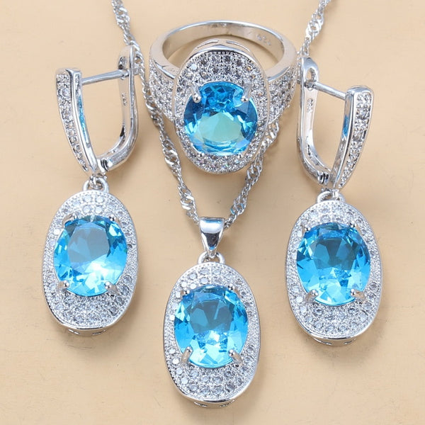 Wonderful Sky Blue Zircon Fashion Party Costume 3PCS Dangle earrings And Necklace Ring 925 Sterling Silver 7-Color Jewelry Sets For Women Gift