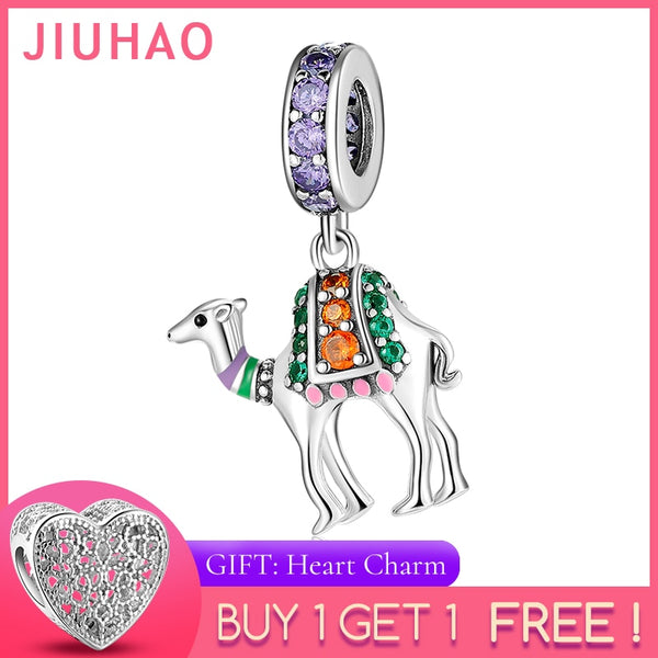 925 Sterling Silver fashion Desert sightseeing camel colorful Zircon beads Fit Original Pandora Charm Bracelet Jewelry making