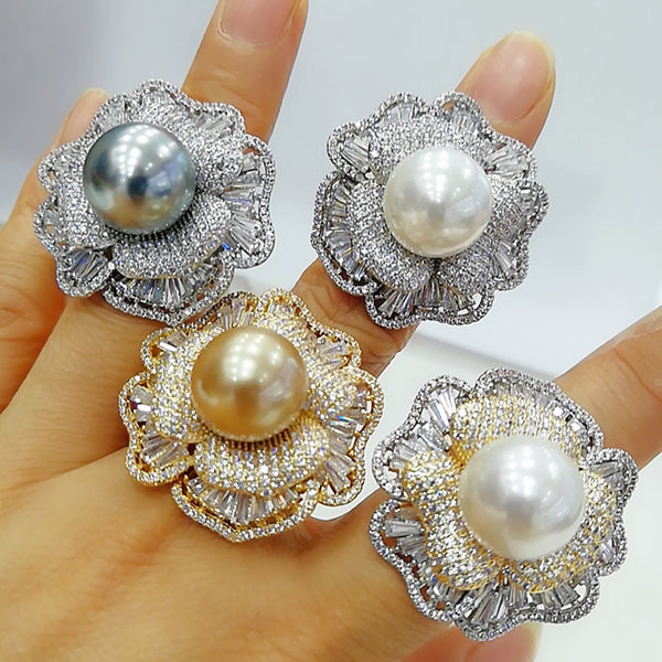 GODKI 2020 Trendy Flower Pearl Statement Rings for Women Cubic Zircon Finger Rings Beads Charm Ring Bohemian Beach Jewelry 2019