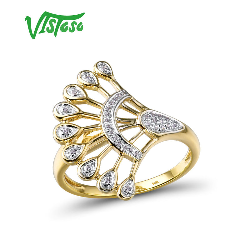 VISTOSO Gold Rings For Women Pure 14K 585 Yellow Gold Sparkling Diamond Promise Engagement Rings Anniversary Fine Jewelry