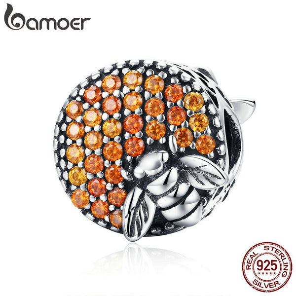BAMOER Hot Sale 100% 925 Sterling Silver Bee Honeycomb Home Crystal CZ Charm Beads fit Charm Bracelet DIY Jewelry Making SCC654