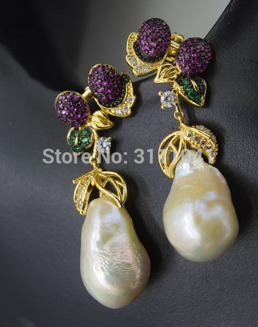 one pair white freshwater keshi pearl drop baroque 18-20mm  hook earrings  wholesale beads FPPJ