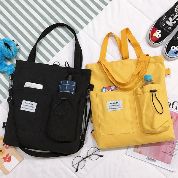 PURFAY Simple Women Package Print Cute Bear Canvas Bag Handbags Japanese Literary Shoulder Bag Casual Shopping Tote Girl Handbag