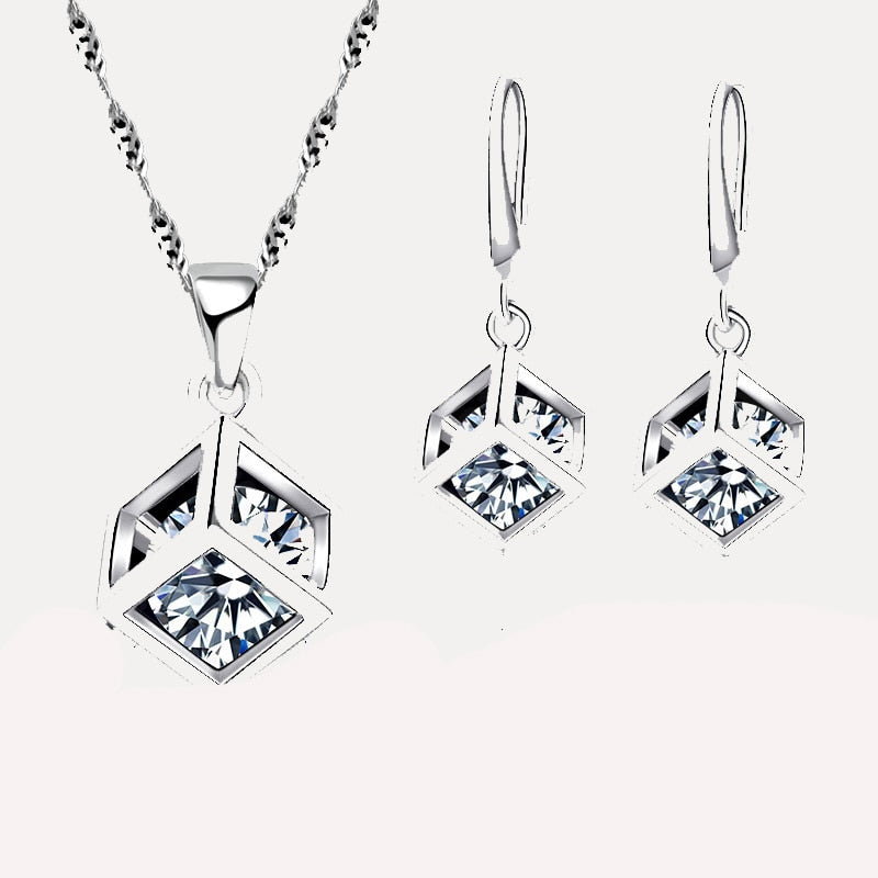 Trendy Design Jewelry Set For Women 925 Sterling Silver Jewelry Set Square Pendant Necklace Earrings Wholesale  Promotion
