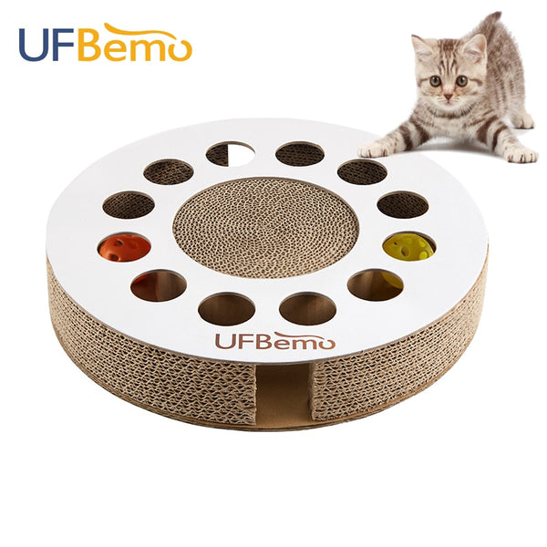 UFBemo Cat Toy Scratcher Kitten Toys with Ball Pet Catnip Bed Scratch Pet Products Corrugated Claw Round Cardboard Training Toy