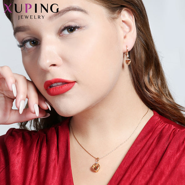 Xuping Fashion Heart Shaped Set for Women Charms Style High Quality Imitation Jewelry Sets for Party Gifts S84-64589