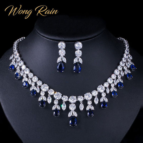 Wong Rain Luxury 925 Sterling Silver Sapphire Emerald Topaz Gemstone Birthstone Necklace/Earrings Bridal Jewelry Sets Wholesale