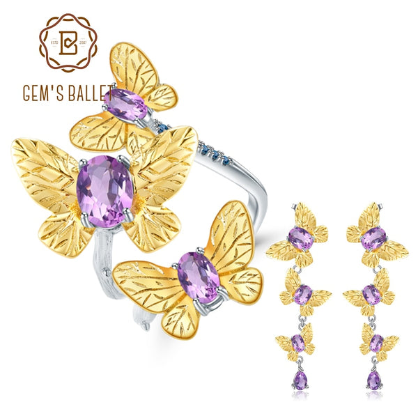 GEM'S BALLET 6.89Ct Natural Amethyst Handmade Butterfly Fine Jewelry 925 Sterling Silver Ring Earrings Jewelry Sets For Women