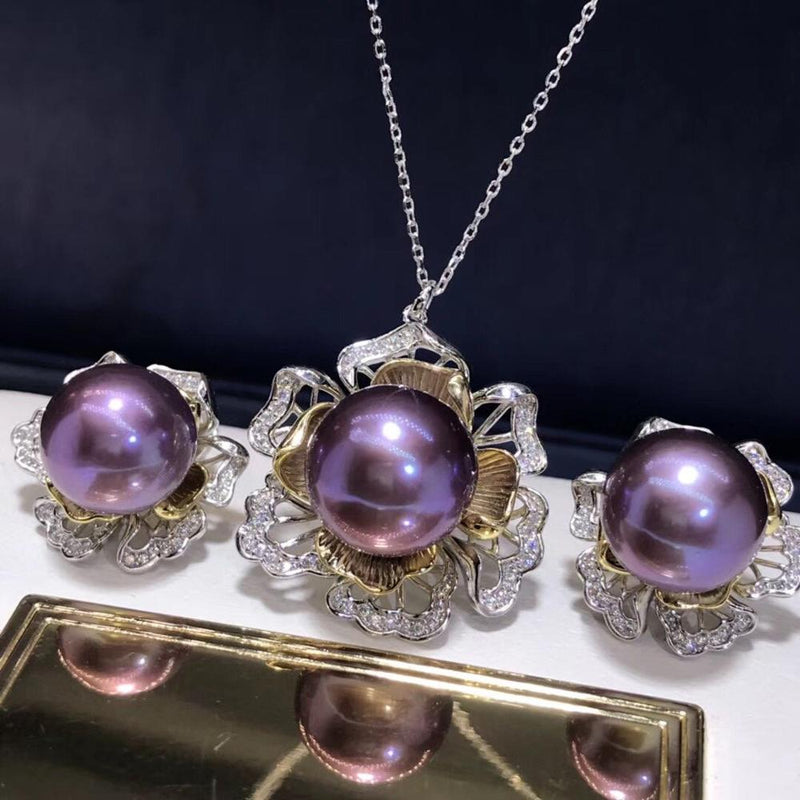 D113 Fine Jewelry 925 Sterling Silver Natural Fresh Water Purple Pearls 11-10 Female's Jewelry Sets for Women FIne Jewelry Sets