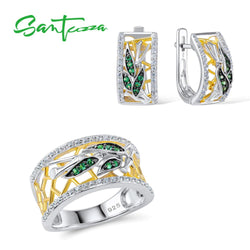 SANTUZZA Jewelry Sets For Woman Green Spinels White CZ Stones Jewelry Set Earrings Ring 925 Sterling Silver Fashion Fine Jewelry