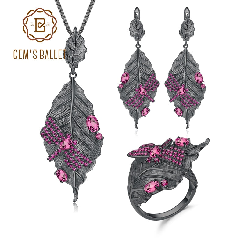 GEM'S BALLET 925 Sterling Silver Handmade Leaves Jewelry Set Natural Rhodolite Garnet Adjustable Ring Earrings Pendant For Women