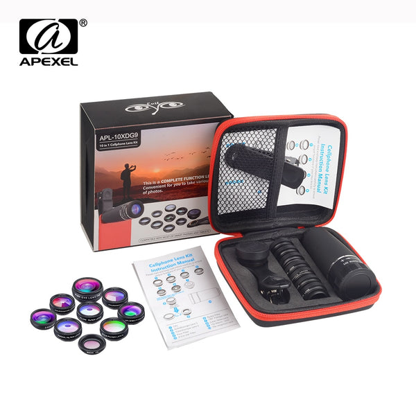 APEXEL 1 Set Lens 10 in 1 phone Camera Lens Kit Fish Eye Wide Macro Star Filter CPL Lenses for iPhone XS Mate Samsung HTC LG