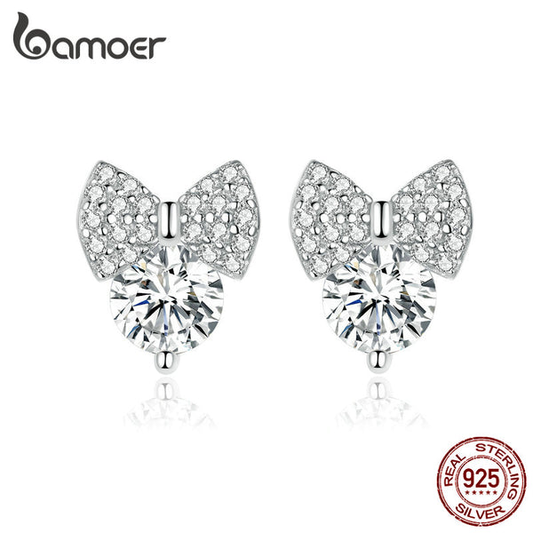 bamoer Sparkling Bowknot Clear CZ Wedding Earrings for Women Genuine 925 Sterling Silver Ear Studs Female 2019 Jewelry BSE280