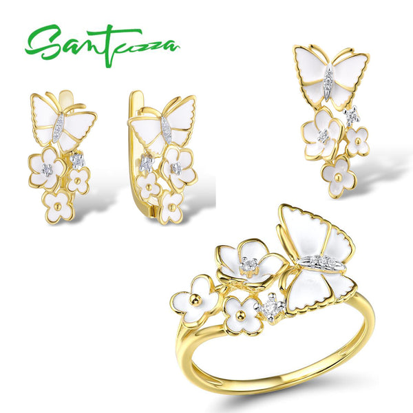 SANTUZZA  Jewelry Set for Women 925 Sterling Silver Flowers Butterfly Pendant Earrings Ring Set Fine Jewelry Handmade Enamel
