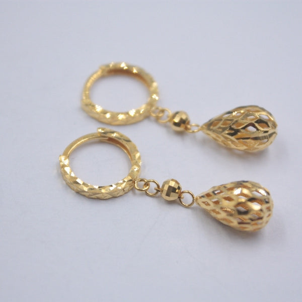 Solid Real 18K Yellow Gold Earrings Luck Hollow Ball Hoop Earrings 1.8-2g 27x11mm Women Wedding Gift