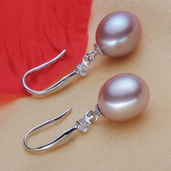 YIKALAISI 925 Sterling Silver Natural Freshwater Pearl Fashion Earrings Jewelry For Women 8-9mm Pearl Drop Shape 4 Colour